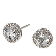 Paul Deasy Gem and White Zircon Halo Sterling Silver Stud Earrings
