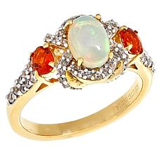 Paul Deasy Gem Ethiopian Opal, Fire Opal and White Zircon Ring