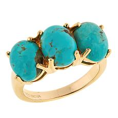 Paul Deasy Gem Gold-Plated 3-Stone Tyrone Turquoise Ring