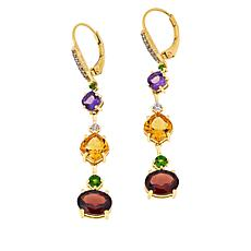 Paul Deasy Gem Gold-Plated Amethyst, Citrine and Garnet Drop Earrings