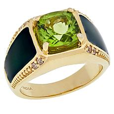 Paul Deasy Gem Peridot and White Zircon Enameled Ring