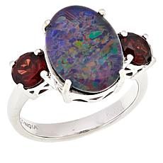 Paul Deasy Gem Sterling Silver Opal Triplet and Garnet Ring