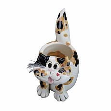 "Pence Pets 5"" Resin Calico Cat Planter"