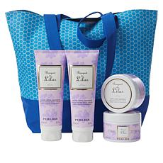 Perlier Lilac 4-piece Kit with Woven Tote