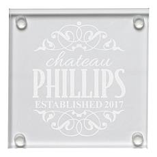 Personal Creations Set of 4 Personalized Label Glass Coasters