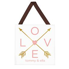 "Personalized ""Arrows of Love"" Wooden Plaque  - 9-3/4"" x 9-3/4"""