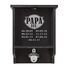 "Personalized ""Established"" Bottle Cap Display with Opener"