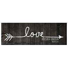 "Personalized ""Love Points to Us "" Canvas - 9"" x 27"""