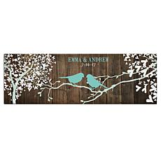 """Personalized Sweet Lovebirds Canvas - 9"""" x 27"""""""