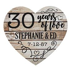 "Personalized ""Years of Love"" Wooden Heart Plaque"