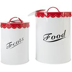 Pet Food and Treat Canister Set - Red
