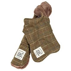 Pet Life 2-in-1 Windowpane Plaid Dog Jacket w/Reversible Dog Mat - L