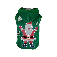 Pet Life LED Lighted Hands-Up Santa Hooded Sweater Pet Costume