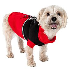 Pet Life Snowflake Cable-Knit Ribbed Turtleneck Dog Sweater