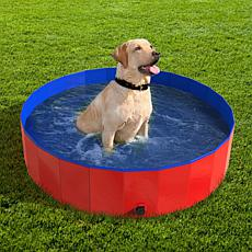 Pet Pal Collapsible Dog Pool and Bath with Drain - Red