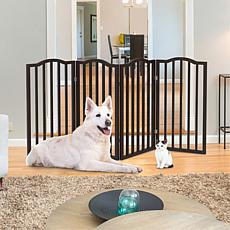 Pet Pal Freestanding 4-Panel Pet Gate - Brown