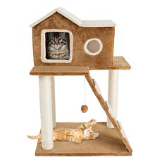 """PETMAKER 3-Tier 34.5""""H Cat Tree with Condo, Ladder, and Hanging Toy"""
