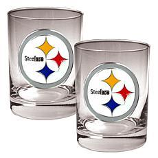 Pittsburgh Steelers 2pc Rocks Glass Set
