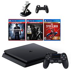 PlayStation 4 Slim with Spiderman, Greatest Hits Edition Games, and...