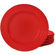 "Plaza Cafe 10.5"" Dinner Plate Set in Red, Set of 8"