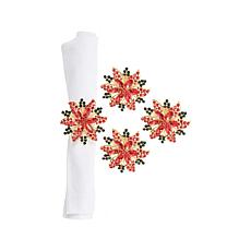Poinsettia Napkin Ring 4-Pack