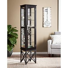 Portland Lighted Curio Cabinet - Satin Black
