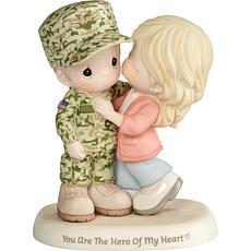 Precious Moments Hero Of My Heart Service Couple Porcelain Figurine