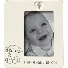 """Precious Moments """"I Am a Child of God"""" Ceramic 4x6 Baptism Photo Frame"""