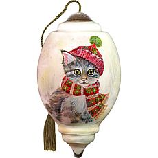 Precious Moments Ne'Qwa Art Blown Glass Cat Ornament