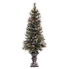 Puleo 4 ft. Glitter Premium Potted Artificial Christmas Tree w/Lights