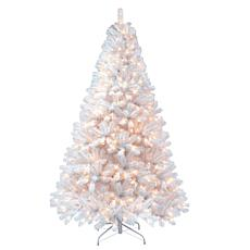 Puleo 7-1/2 ft. Pre-Lit Arctic Fir Flocked Artificial Christmas Tree