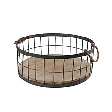 Puleo International 2-pack Wire Baskets w/ Wood Base & Handles