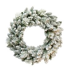 "Puleo International 24"" Flocked Spruce Wreath with 110 Tips"