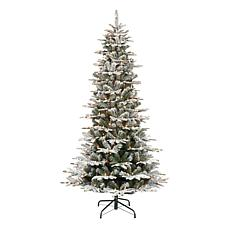 Puleo International 6.5' Pre-Lit Slim Flock Aspen Fir  Christmas Tree