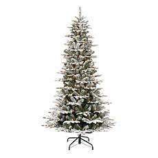 Puleo International 6.5' Pre-Lit Slim Flock Aspen Fir  Christmas Tree