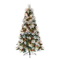 Puleo International 7.5' Pre-Lit Flocked Pacific Pine Christmas Tree