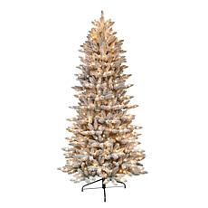 Puleo International 7.5' Pre-Lit Flocked Slim Fir Christmas Tree
