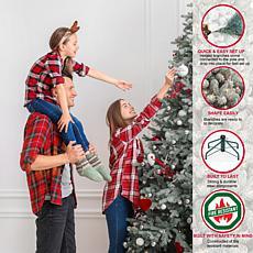 Puleo International Pre-Lit 7.5' Artificial Spruce Tree, Blue/Green