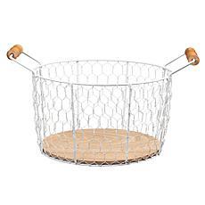 "Puleo Intl. 6.25"" Chicken Wire Basket w/ Wood Look Base & Handles"