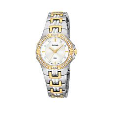 Pulsar Women's 2-tone Crystal-Accented Bezel Bracelet Watch