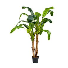 """Pure Garden Artificial Banana Leaf Tree 72""""H Double Trunk Style"""