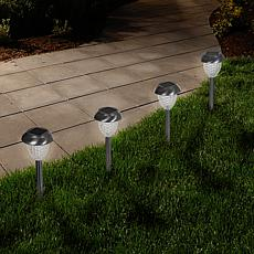 Pure Garden Solar-Powered Glass Lights Set of 6 - 1.1 Lumen