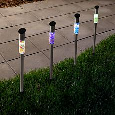 Pure Garden Solar-Powered LED Mosaic Lights Set of 4