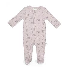 Rabbit + Bear Organic Cotton Girls Ribbed Footed Coverall w/ Zipper
