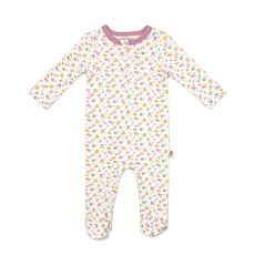 Rabbit + Bear Organic Cotton Girls Zipper Ribbed Footed Coverall