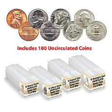Random BU Penny, Nickel, Dime and Quarter 4-Roll 180-Coin Set