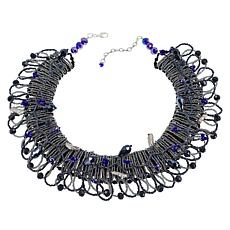 "Rara Avis by Iris Apfel 18"" Black Beaded Collar Necklace"