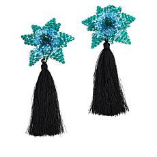Rara Avis by Iris Apfel Beaded Flower Tassel Earrings