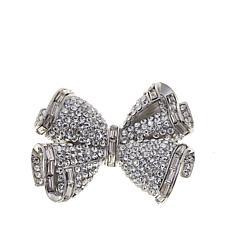 Rara Avis by Iris Apfel Crystal Silvertone Bow Brooch