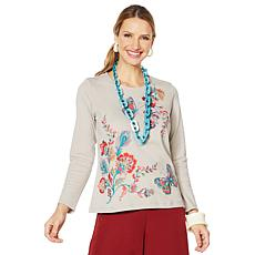 Rara Avis by Iris Apfel Embroidered Knit Top